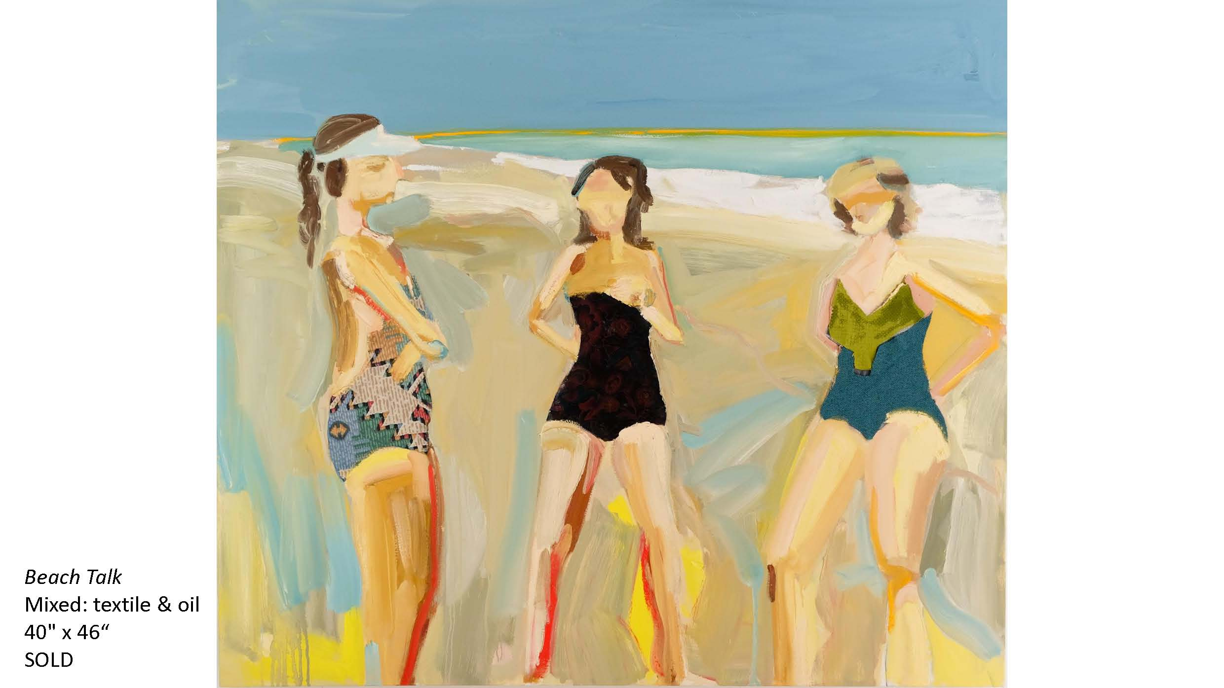 Beach Talk - Mixed textime and oil - 40x46