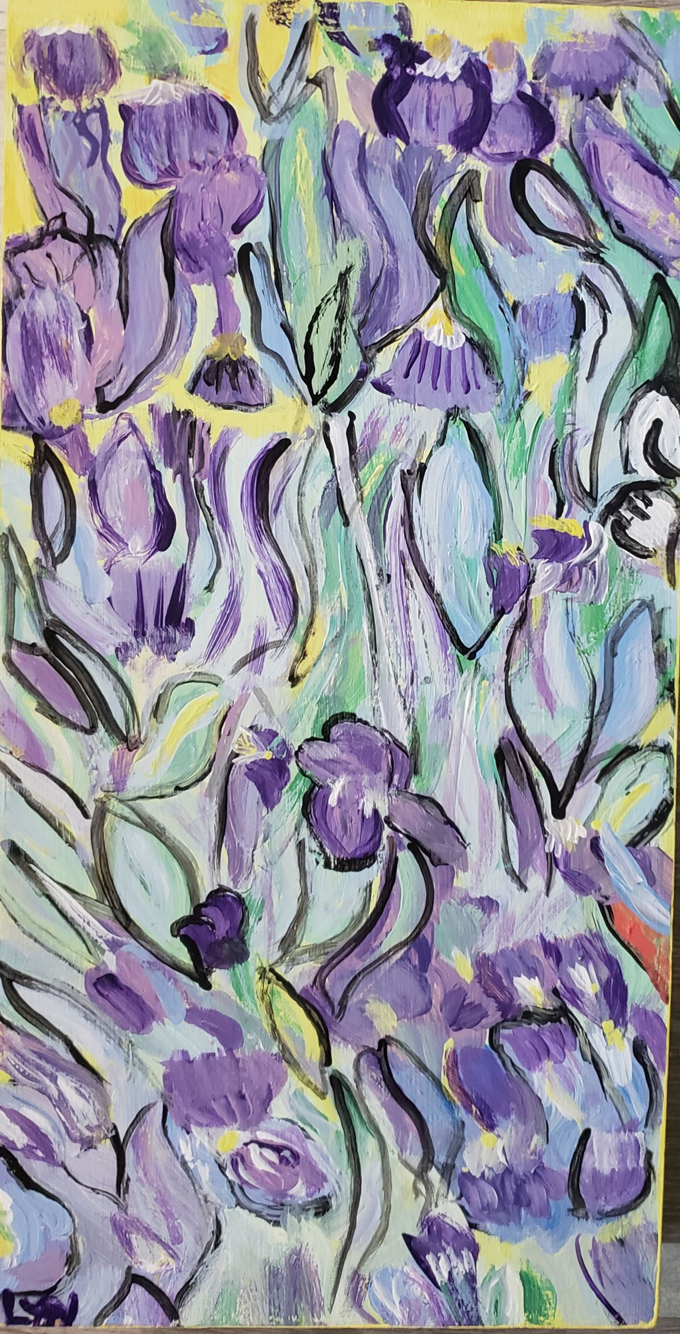 Purple Irises - 15x8 Cigar Box