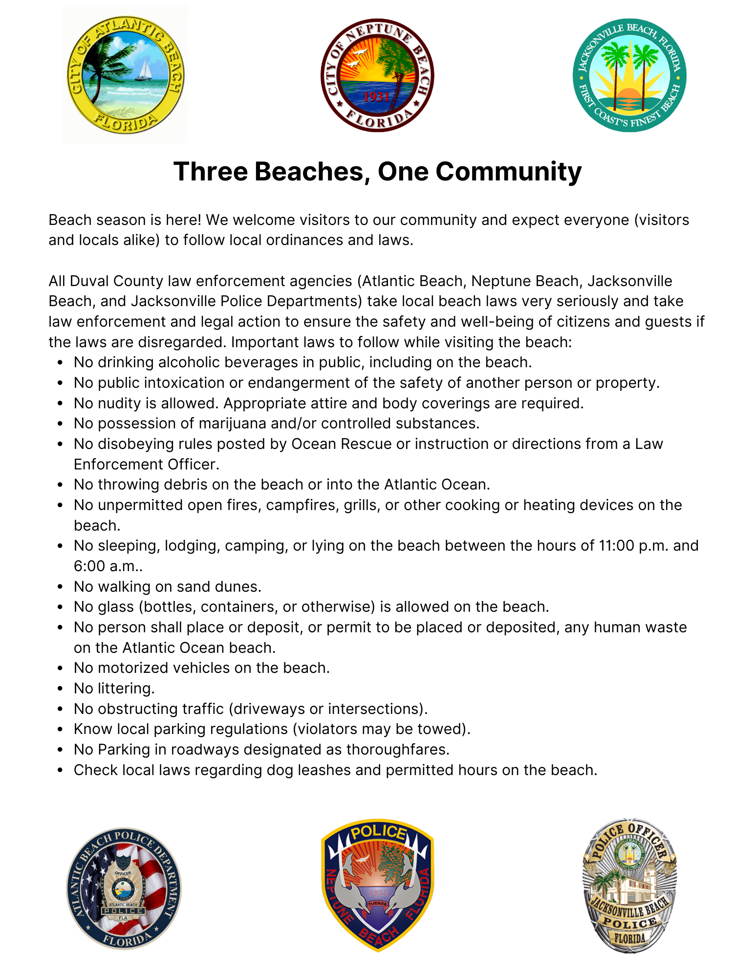 Beaches Rules Statement Final